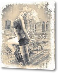 Картина Танец на фоне мегаполиса