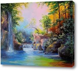Картина В лесу у водопада