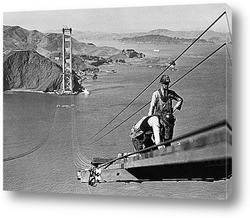 Картина Строительство моста<Золотые ворота>.