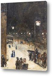 Картина Берлинская улица ночью, 1889