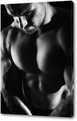 Картина Портрет бодибилдера на черном фоне