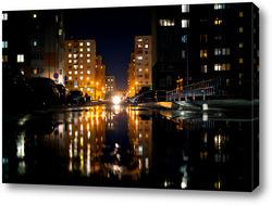 Картина Городской пейзаж ночью.