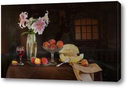 Картина С лилиями и дыней