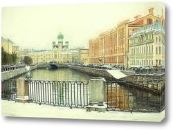 Санкт-Петербург. Канал Грибоедова. Могилевский мост и Исидоровская церковь.