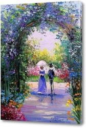 Картина Прогулка в цветущем саду