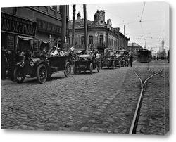 Картина Автопробег в честь акции «Белый цветок», посвящённой борьбе с чахоткой. 1914 год.
