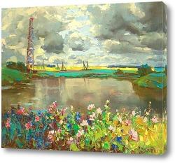 Картина Пейзаж с вышкой