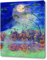 Абстрактный пейзаж с луной