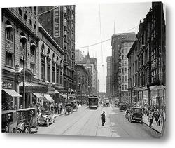 Картина Мэдисон-стрит, отель Бревурт и оперный театр Ла Саль, 1910