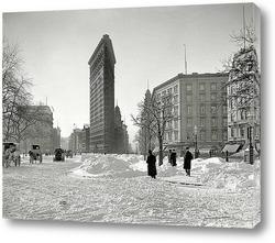 Небоскреб в Нью-Йорке, зима, ретро
