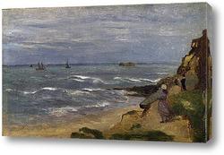 Морской пейзаж с фигурами на скалах