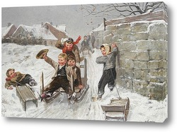 Картина Зимняя сцена с мальчиками на санках