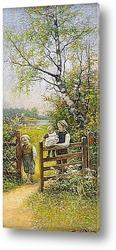 Картина Летний пейзаж с детьми у ворот
