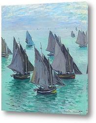 Рыбацкие лодки.Спокойное море
