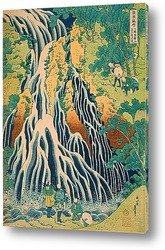 Паломники на водопаде Кирифури на горе Куроками в провинции Шимо