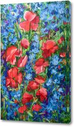 Картина Маки на васильковом поле