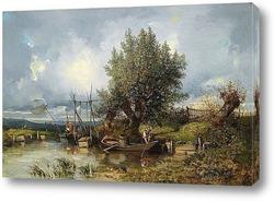 Картина Речной пейзаж с рыбаками
