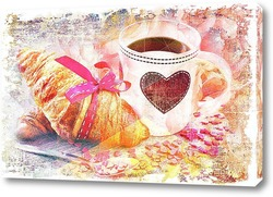Картина кофе и круассан
