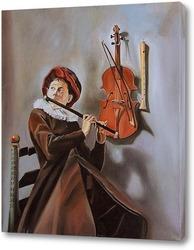 Картина Юный музыкант. По мотивам старых мастеров