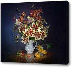 Картина Букет лилий на снем фоне