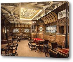 """Картина """"Кайзер Вильгельм дер Гроссе"""" кабина для курения, Северо-германский Ллойд, почтовый пароходы. 1890-1"""