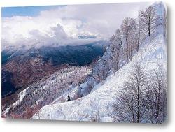 Картина Зимние горы Кавказа. Горнолыжная трасса.