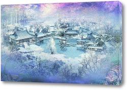 Картина Деревня. Зима