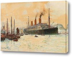 """Картина Канадской Тихоокеанской лайнер """"Императрица Австралии"""" в гавани"""