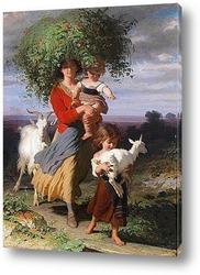 Мать возвращается с детьми домой