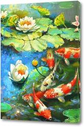 Картина Карпы и лилии