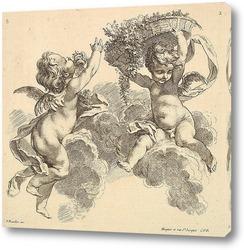 Двое детей, один несет корзину с цветами