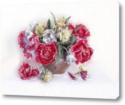 Картина Букет весенних цветов на белом фоне