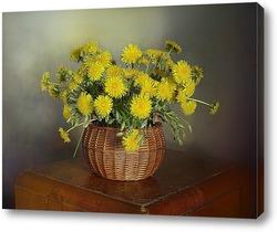 Желтые Одуванчики в лукошке