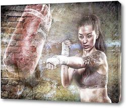Картина Девушка боксер