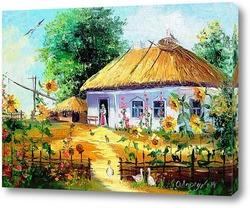 Картина Дом в селе