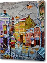 Трамвай, умытый дождем