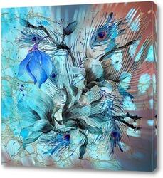 Картина Голубые акварельные цветы