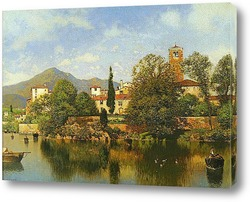 Картина Итальянский город на озере