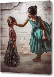 Картина Мама в зелёном платье в горошек воспитывает свою дочь в длинной юбке