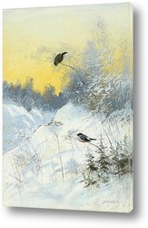 Снегири в зимнем пейзаже