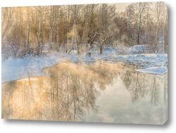 Картина Озеро в зимний мороз