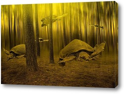 Черепахи плавающие в лесу