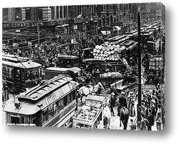 Картина Пробка в Чикаго,1909г.