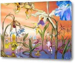 Постер Фламинго в саду орхидей