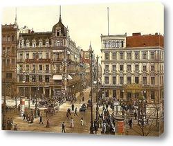 Картина Кафе Бауэр, Унтер-ден-Линден, Берлин, Германия. 1890-1900 гг