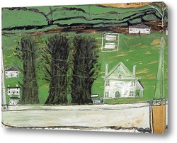 Три дерева: белый дом в пейзаже