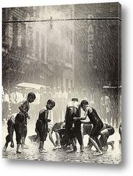 Картина Мальчишки собирающие монеты на улице,Нью-Йорк.