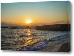 Закат над морским пейзажем