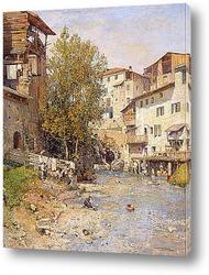 Картина Пейзаж с деревни на окраине Рима