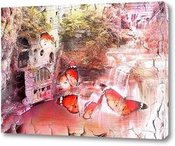 Картина водопад и бабочки